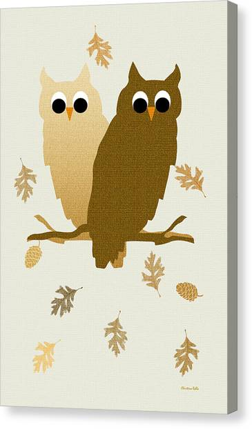 Owls Canvas Print - Owls Pattern Art by Christina Rollo