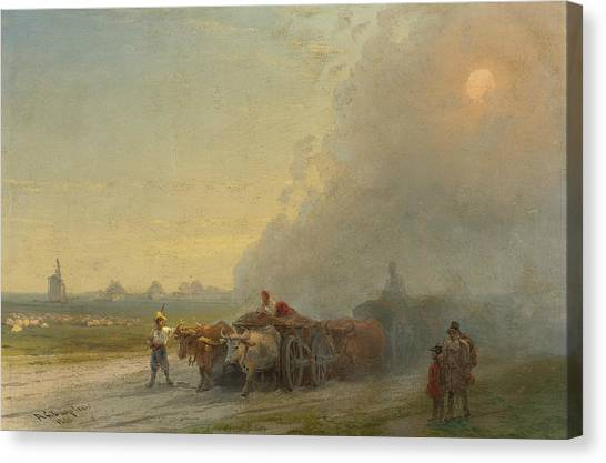 Carts Canvas Print - Ox-carts In The Ukrainian Steppe by Ivan Aivazovsky