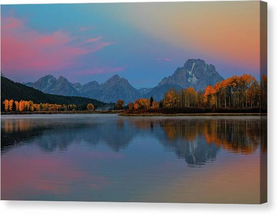 Wyoming Canvas Print - Oxbows Reflections by Edgars Erglis