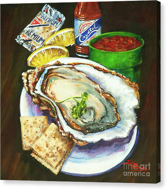 Seafood Canvas Print - Oyster And Crystal by Dianne Parks