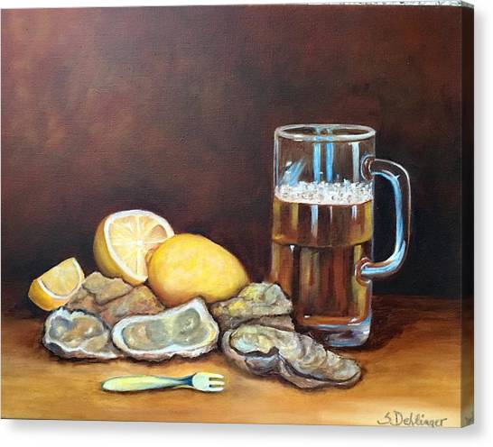 Oysters And Beer Canvas Print