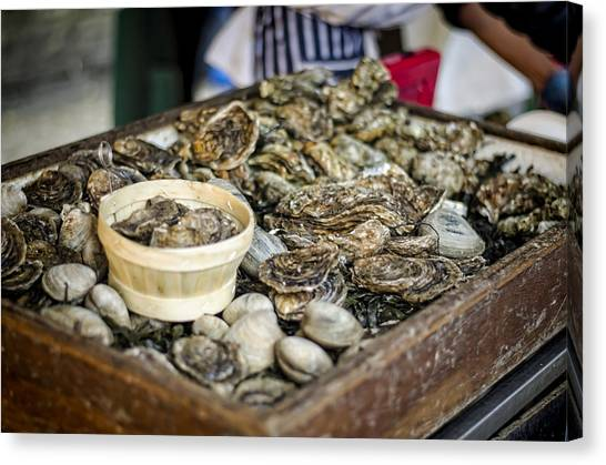 Oysters At The Market Canvas Print