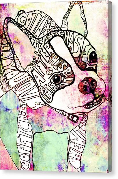 Boston Terriers Canvas Print - Ozzy Boy by Robin Mead