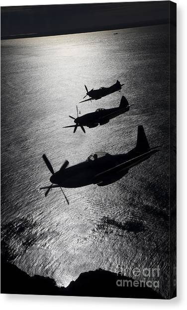 Airplanes Canvas Print - P-51 Cavalier Mustang With Supermarine by Daniel Karlsson