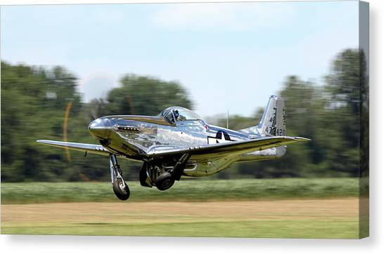 P51 Canvas Print - P-51 Takeoff by Peter Chilelli