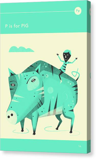 Pig Canvas Print - P Is For Pig by Jazzberry Blue