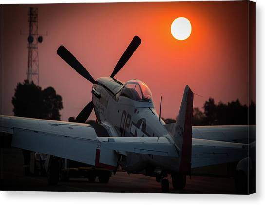 Canvas Print featuring the photograph P51 Sunset by Paul Job