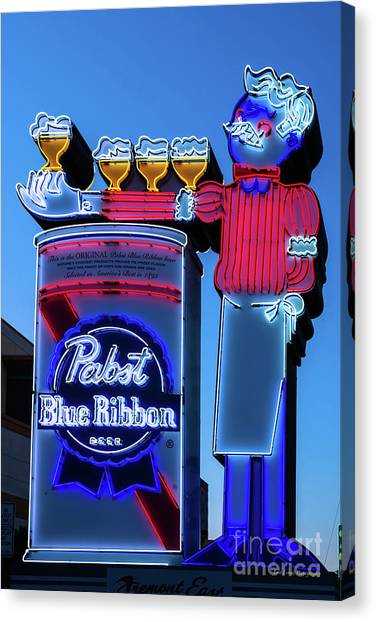 Pabst Blue Ribbon Neon Sign Fremont Street Canvas Print