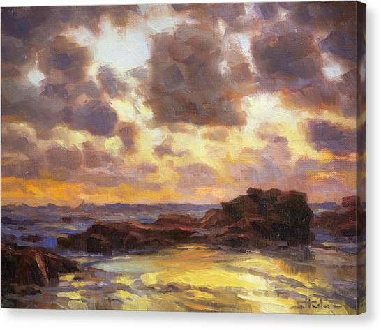 Low Tide Canvas Print - Pacific Clouds by Steve Henderson