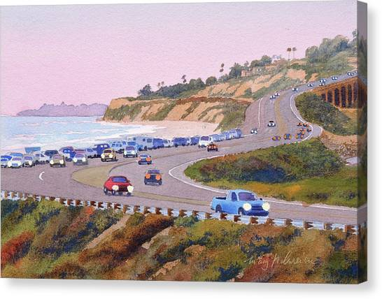 Pacific Coast Canvas Print - Pacific Coast Hwy Del Mar Dusk by Mary Helmreich