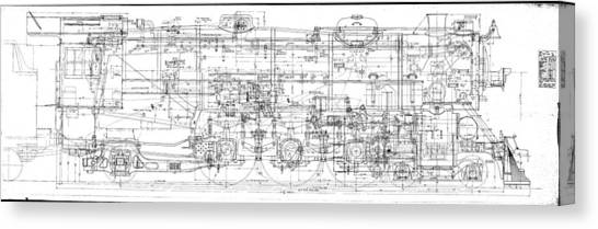 Pacific Locomotive Diagram Canvas Print