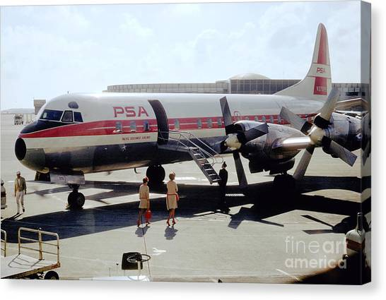 Pacific Southwest Airlines Lockheed L-188c, N376ps Canvas Print