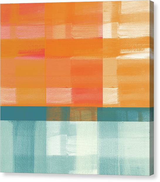 Stripe Canvas Print - Pacific Sunset 2- Abstract Art By Linda Woods by Linda Woods