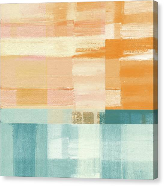 Stripe Canvas Print - Pacific Sunset- Abstract Art By Linda Woods by Linda Woods