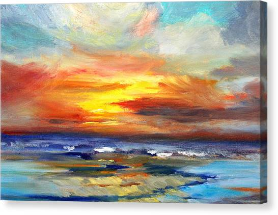 Ocean Sunset Canvas Print - Pacific Sunset Glow by Nancy Merkle