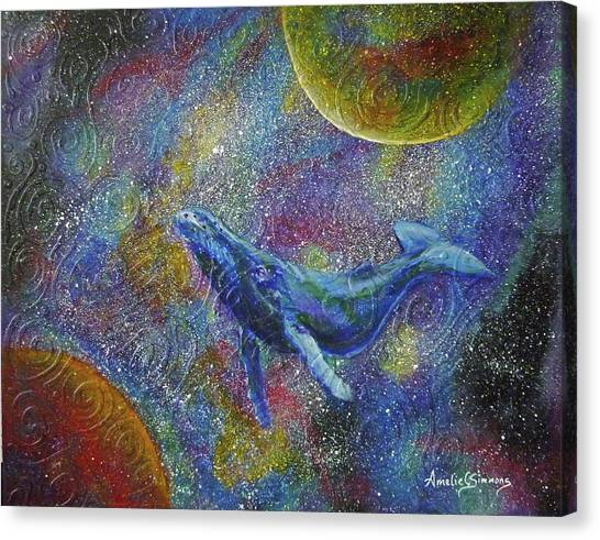 Canvas Print featuring the painting Pacific Whale In Space by Amelie Simmons