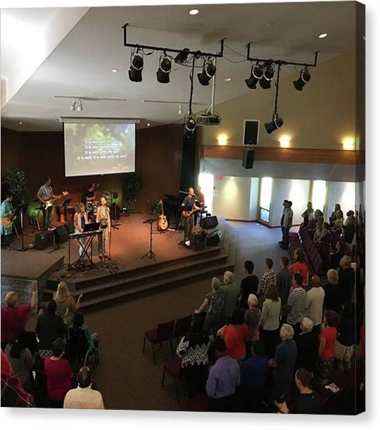 Mercy Canvas Print - Packed Church Service Today! #kickoff by Mike Bennett