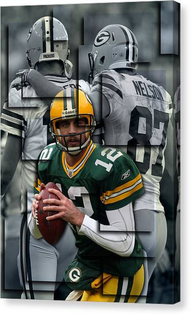Green Bay Packers Canvas Print - Packers Aaron Rodgers 2 by Joe Hamilton