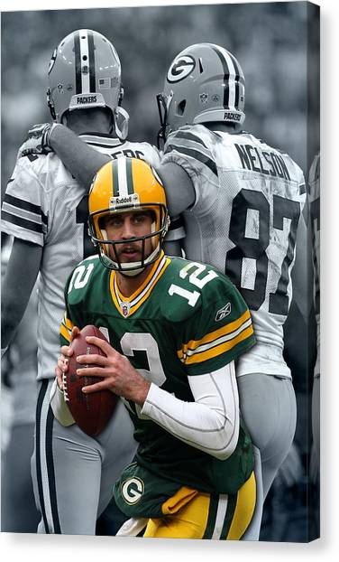 Aaron Rodgers Canvas Print - Packers Aaron Rodgers by Joe Hamilton