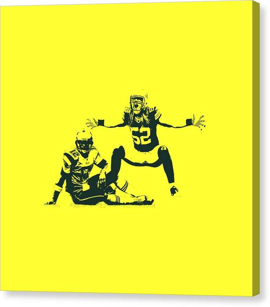 Tom Brady Canvas Print - Packers Clay Matthews Sack by Joe Hamilton