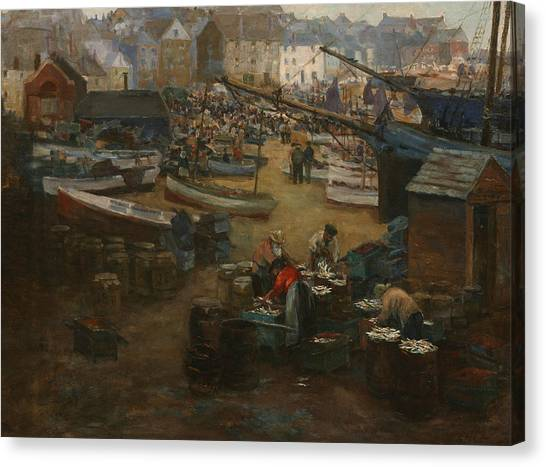 St Ives Canvas Print - Packing Fish   St Ives by Gwendoline Margaret Hopton