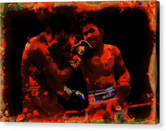 Floyd Mayweather Canvas Print - Pacquiao Putting In Work by Brian Reaves