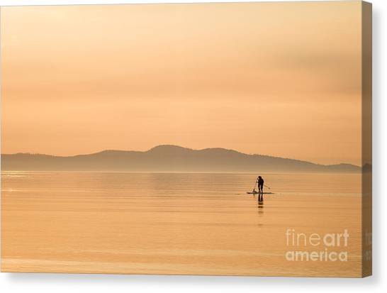 Paddle Boarding At Sunrise Canvas Print