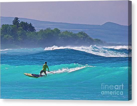 Paddleboarder Rides The Outside Break Canvas Print