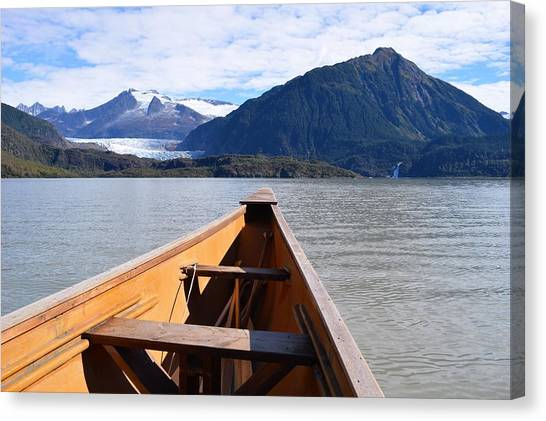 Paddling On Mendenhall Lake Canvas Print