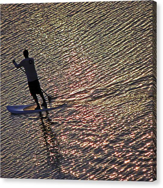 Paddling The Pacific Canvas Print