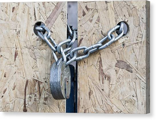 Chain Link Canvas Print - Padlock And Chain by Tom Gowanlock