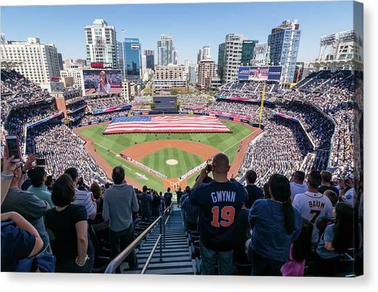 San Diego Padres Canvas Print - Padreas Opening Day 2018 by Robert VanDerWal