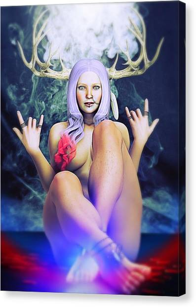 Canvas Print featuring the painting Pagan Paradise by Baroquen Krafts
