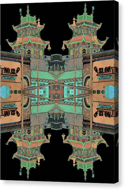 Canvas Print featuring the photograph Pagoda Tower Becomes Chinese Lantern 1 Chinatown Chicago by Marianne Dow