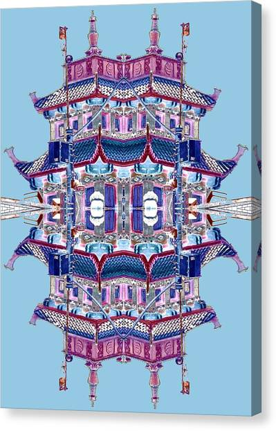 Canvas Print featuring the photograph Pagoda Tower Becomes Chinese Lantern 2 Chinatown Chicago by Marianne Dow