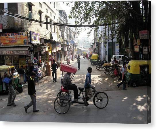 Pahar Ganj Rickshaw Canvas Print by David L Griffin