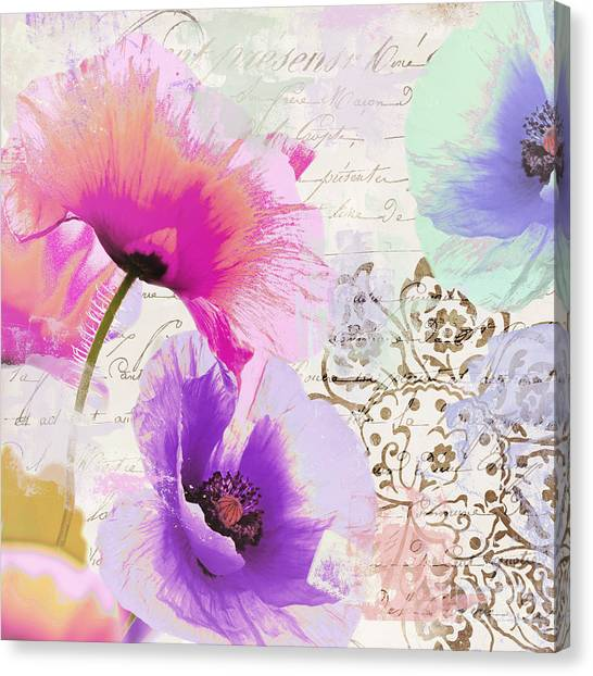 Splashy Canvas Print - Paint And Poppies by Mindy Sommers