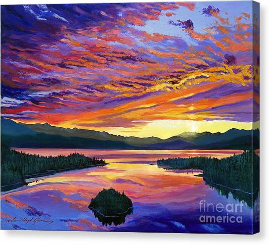 Mountain Sunsets Canvas Print - Paint Brush Sky by David Lloyd Glover
