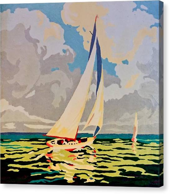 Canvas Print - Paint By Number Sail Boat by Modern Art
