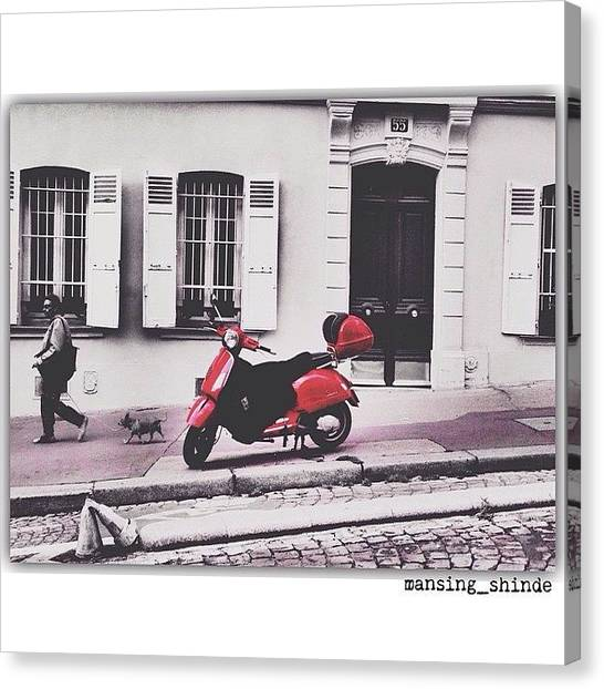 Trucks Canvas Print - Paint It Red Vespa Style by Indian Truck Driver