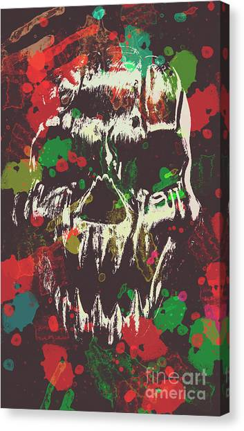 Gothic Art Canvas Print - Paint Splash Skull by Jorgo Photography - Wall Art Gallery