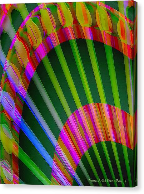 Canvas Print featuring the digital art Paintbrushes by Visual Artist Frank Bonilla