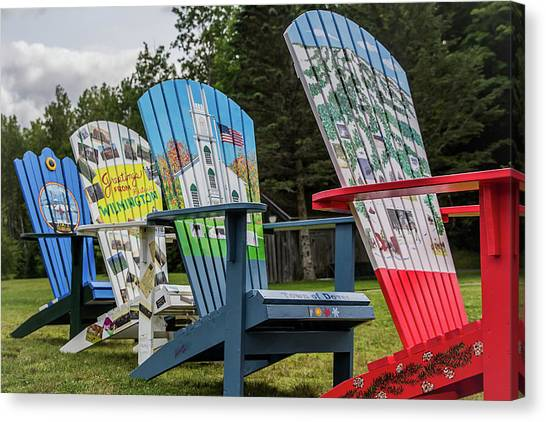Painted Adirondack Chairs Canvas Print By Suzanne Bauer Photography