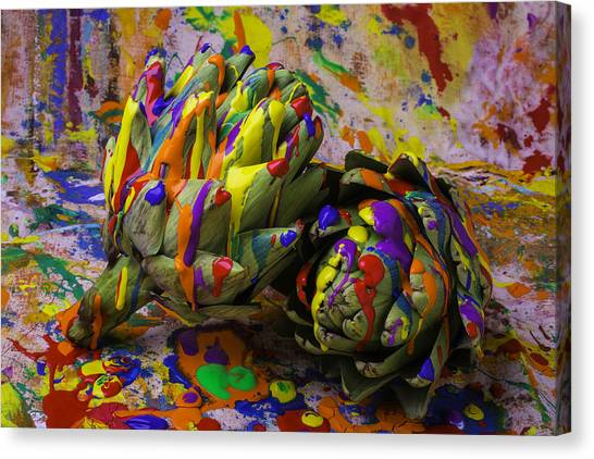Artichoke Canvas Print - Painted Artichokes by Garry Gay