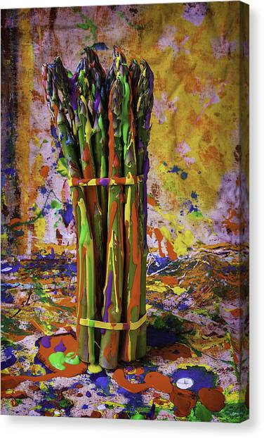 Asparagus Canvas Print - Painted Asparagus by Garry Gay