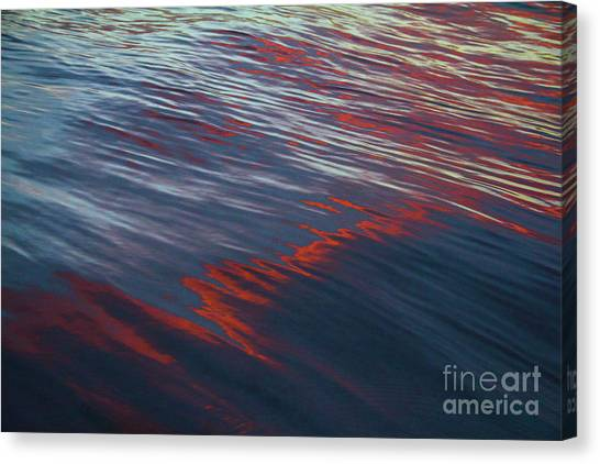 Painted By Nature - Water On The Flight Through The Fiery Skies Canvas Print