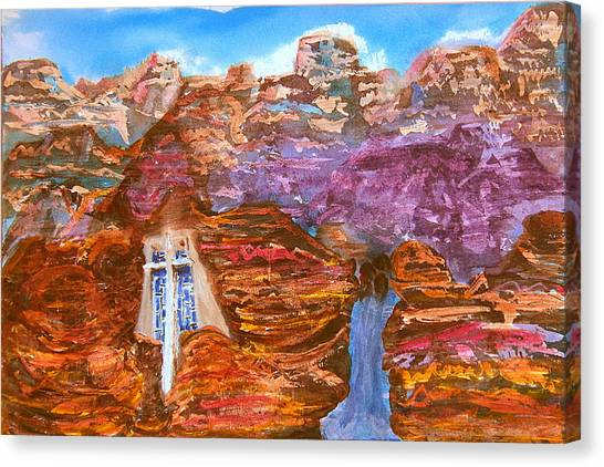 Painted Canyon Church Canvas Print by Margaret G Calenda