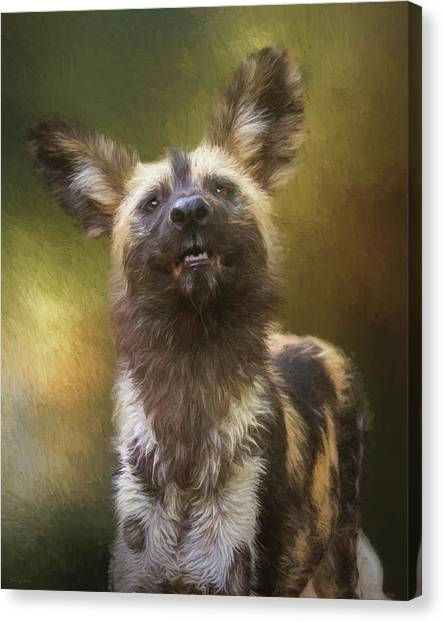 Painted Dog Portrait Canvas Print