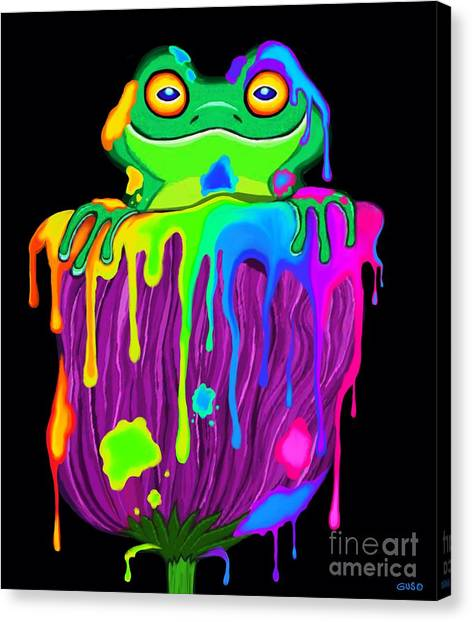 Canvas Print - Painted Flower Frog  by Nick Gustafson