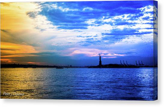 Statue Of Liberty Canvas Print - Painted Harbor by Peter J DeJesus
